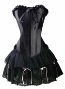 a119 Black Satin Overbust Corset and lace Skirt