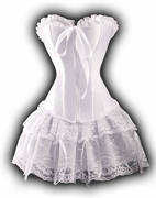 a119 White Satin Overbust Corset and Skirt