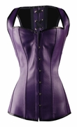 a2671 Purple Leather Overbust Corset Vest