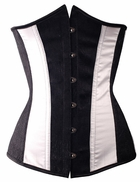 a2694 Black and White wide stripe underbust corset