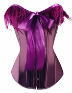 a2712 Purple Victorian Bow Tie Feather Overbust Corset
