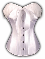 a2712 White Victorian Bow Tie Corset with Feather