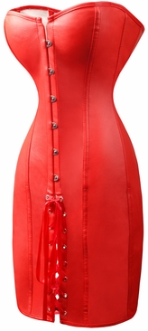 a2732 Red Leather Corset Dress