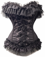 a2771 Black Satin and lace lolita overbust corset