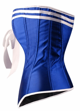 a2931 Blue satin sailor overbust corset