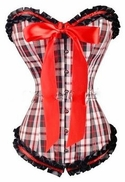 a3006 Red Plaid Overbust Corset