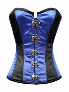 Black and Blue Steel Boned Overbust Corset