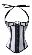 Black and white underbust corset