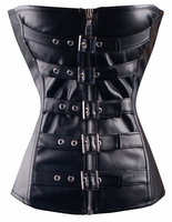Black Leather Buckle Corset