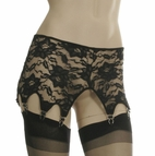 Black Stretch Lace 8 Strap Garter Belt
