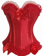 d068 Solid Red Burlesque overbust corset