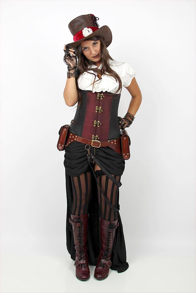 Fcs Black cotton cambric steampunk skirt