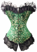 Gold Dragon on Green Brocade Corset