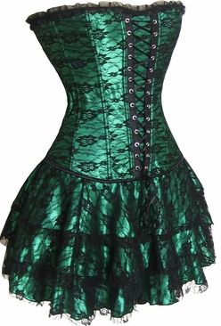 Green lace overlay corset and skirt-NO RETURNS