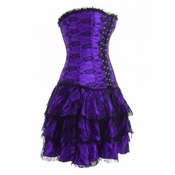 Purple lace overlay corset and skirt-No Returns