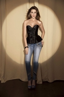 v1308 Black Satin Corset Top-No Returns