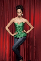 v1308 Green Satin Corset Top-No Returns