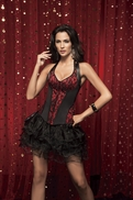 v1323 Red and Black Halter Corset