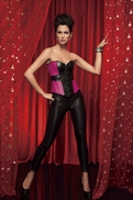 v1373 Pink and Black Overbust Corset