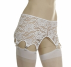 White Stretch Lace 8 Strap Garter Belt