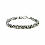 7mm Gray Titanium Weaved Wheat Chain Bracelet