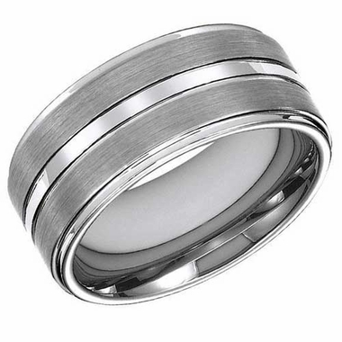 ArtCarved 10mm Tungsten Carbide Ring with Center Trim