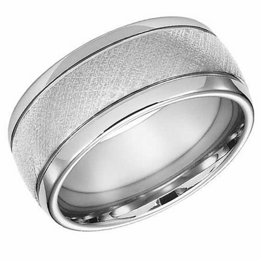 ArtCarved 10mm White Tungsten Carbide Florentine Ring