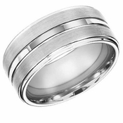 ArtCarved 10mm White Tungsten Carbide Ring with Center Trim