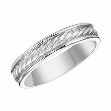 ArtCarved 4mm 14K White Gold Engraved Ring