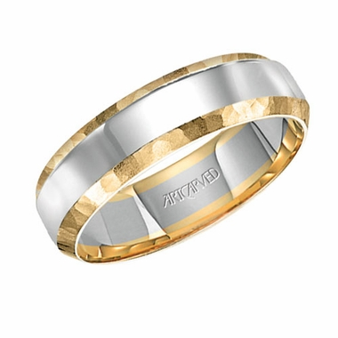 ArtCarved 6mm 14K Gold True Two Tone Ring with Hammered Edges