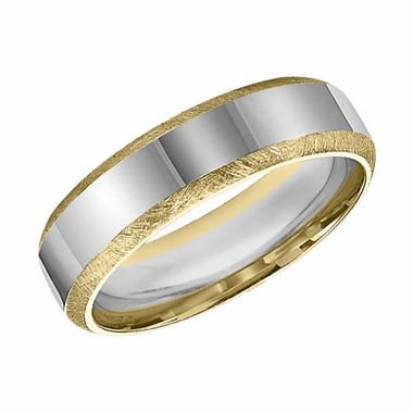 ArtCarved 6mm 14K Gold True Two Tone Ring with Satin Edges