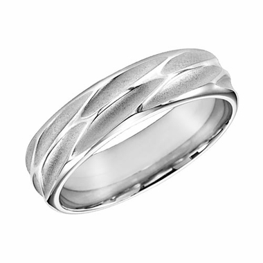ArtCarved 6mm 14K White Gold Engraved Ring