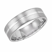 ArtCarved 6mm 14K White Gold Engraved Ring with Groove