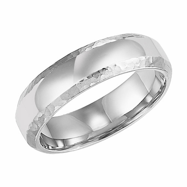 ArtCarved 6mm 14K White Gold Ring with Hammered Edges
