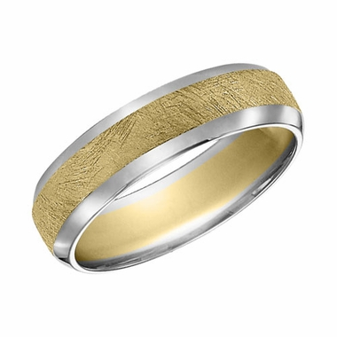 ArtCarved 6mm Dual Finish 14K Gold Reverse True Ring