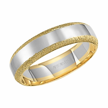 ArtCarved 6mm Dual Finish 14K Gold True Two Tone Ring