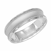 ArtCarved 6mm Dual Finish 14K White Gold Concave Ring