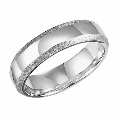 ArtCarved 6mm Dual Finish 14K White Gold Ring
