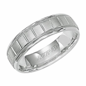 ArtCarved 6mm Dual Finish 14K White Gold Ring Vertical Cuts