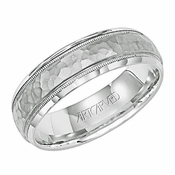 ArtCarved 6mm Dual Finish 14K White Gold Ring with Milgrain
