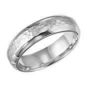 ArtCarved 6mm Hammered 14K White Gold Ring