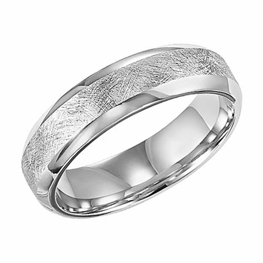 ArtCarved 6mm Satin 14K White Gold Ring
