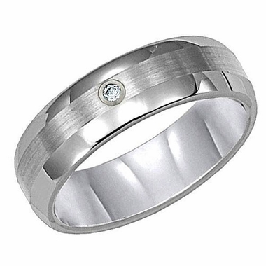 ArtCarved 6mm Tungsten Carbide Diamond Ring