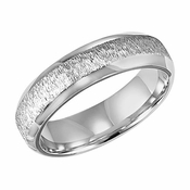 ArtCarved 6mm Vertical Brushed 14K White Gold Ring