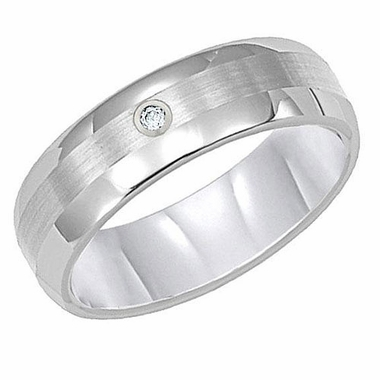 ArtCarved 6mm White Tungsten Carbide Diamond Ring
