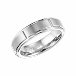 ArtCarved 6mm White Tungsten Carbide Ring with Vertical Slots