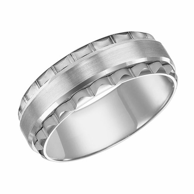 ArtCarved 7.5mm 14K White Gold Engraved Ring