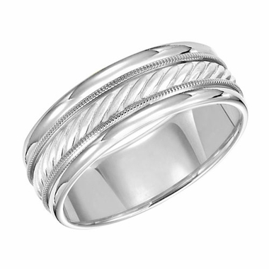 ArtCarved 7.5mm 14K White Gold Ring with Milgrain