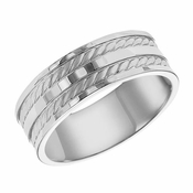 ArtCarved 7.5mm Dual Finish 14K White Gold Ring