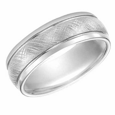 ArtCarved 7.5mm White Tungsten Carbide Ring with Parallel Grooves